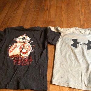 Two boys t-shirts - Under Armor and Star Wars - L